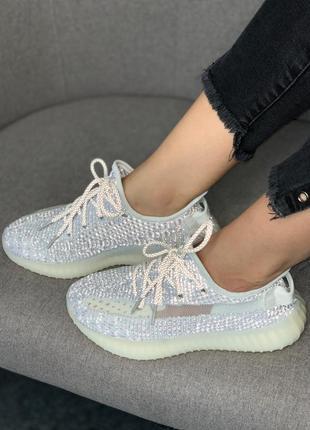 Женские мужские кроссовки adidas yeezy boost 350 static full reflective, кроссовки адидас изи буст 350 полностью рефлективные белые