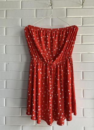 Яркое красное пляжное платье сарафан туника бандо в горошек asos ♥️