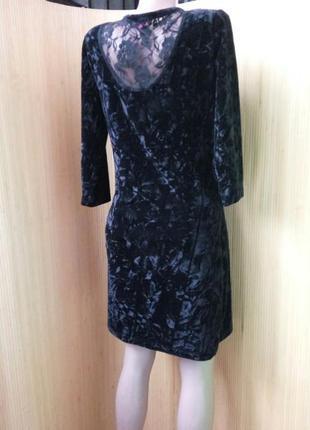 Чёрное вечернее  коктейльное  платье велюр с кружевом на спине