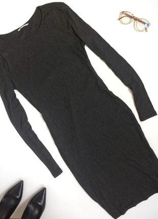 Серое платье миди в рубчик h&m (m)3