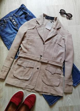 Zara льняной пиджак с поясом, жакет, удлинённый блейзер свободного кроя под пояс