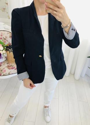 Zara пиджак 100% шерсть с объёмными рукавами