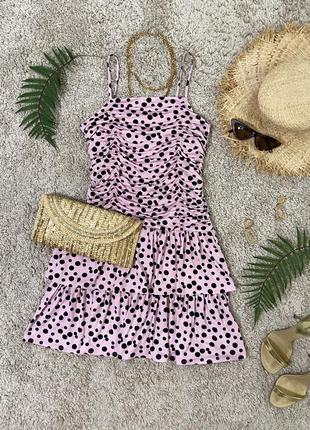 Распродажа!!! актуальное платье в горошек №303max1 фото