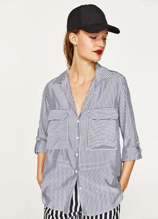 Рубашка oversize в полоску zara (m)1