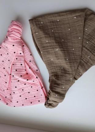 Муслиновая косынка на резинке комплект муслин бандана платок муслін