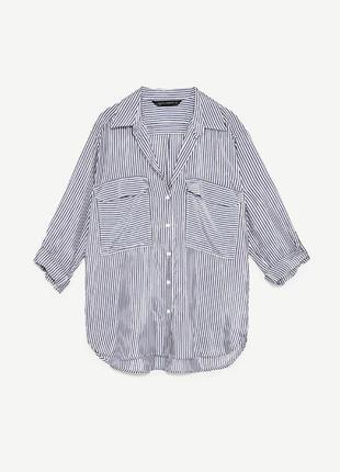 Рубашка oversize в полоску zara (m)2