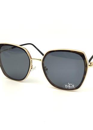 Женские солнцезащитные очки flyby «geometric» в коричнево-золотой оправе с темно-серой линзой