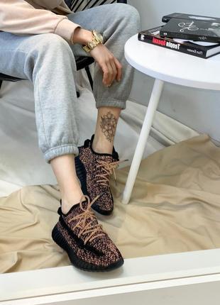 Мужские женские кроссовки adidas yeezy boost 350 black white full reflective, кроссовки адидас изи буст 350 черные полностью рефлективные