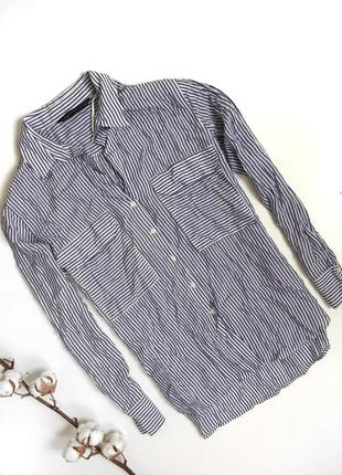 Рубашка oversize в полоску zara (m)4
