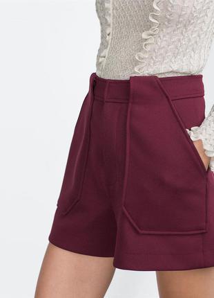Плотные шорты с высокой посадкой винного цвета zara (s)1