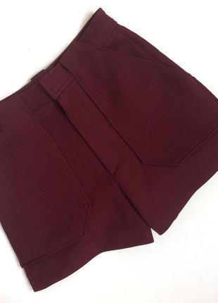Плотные шорты с высокой посадкой винного цвета zara (s)3