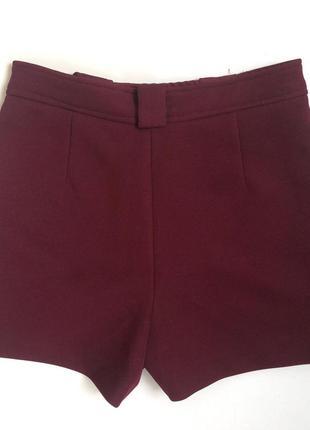 Плотные шорты с высокой посадкой винного цвета zara (s)4