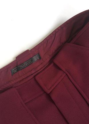 Плотные шорты с высокой посадкой винного цвета zara (s)5