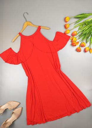 Платье натуральное миди красное с оборками 22р.
