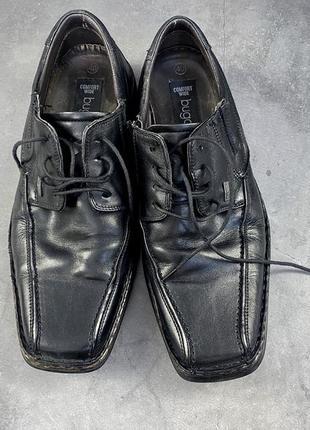Туфли фирменные, кожаные bugatti, черные