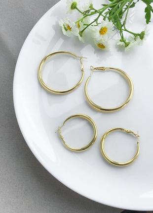 Серьги кольца в золото за  1 пару