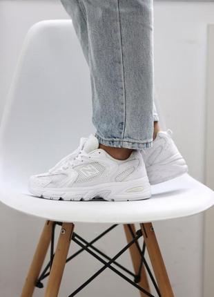 ❤ женские белые текстильные  кроссовки  new balance 530 white ❤4 фото