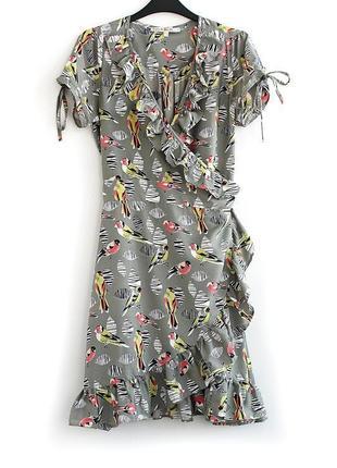 Чудесное платье на запах с птичками • р-р 10\38 (м)