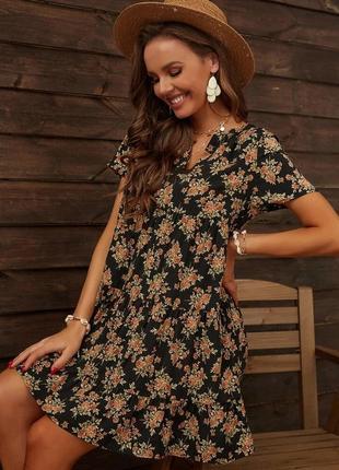 Платье мини свободное вискоза 14 размер сукня з віскози
