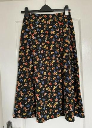 Юбка миди в цветы primark с разрезом юбка большого размера