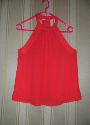 Блуза алая без рукавов размер 40// l  полиэстер