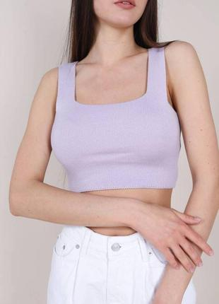 Трикотажный топ айова лиловый летний майка футболка кроп топ