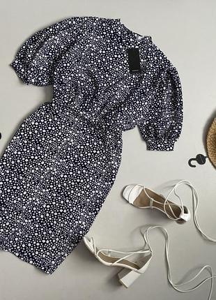 Новое трендовое цветочное платье с актуальными объемными рукавами буфами  reserved размер  состояние