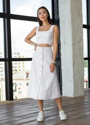 Костюм топ и юбка белого цвета