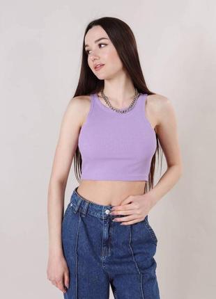 Трикотажный топ монтана летний майка футболка кроп топ лиловый фиолет