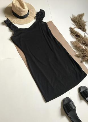Чёрное платье в рубчик в стиле zara