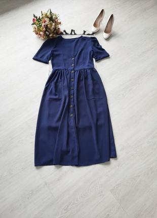 Платье на пуговицах миди платье халат сукня на гудзиках с