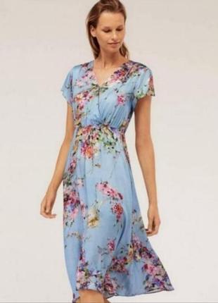 Платье мтди тз втскозы небесного цвета сукня міді