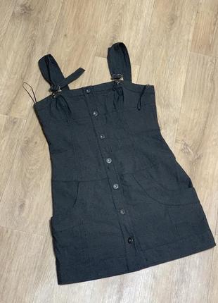 Сарафан серый с карманами