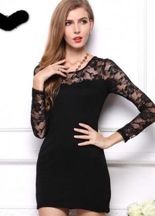 Красивое платье с гипюровым рукавом mango р. 46-48 тянется