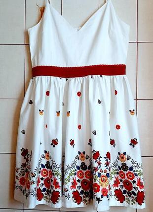Новое белоснежное хлопковое платье с цветочным принтом lindy bop