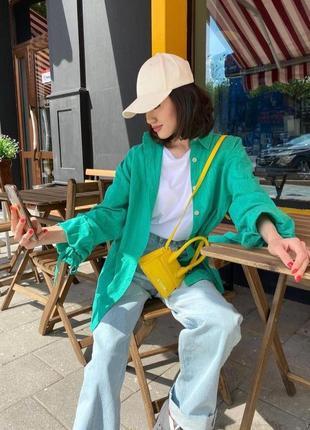 Удлиненная рубашка oversize из натурального льна❤с оригинальными рукавами на завязках