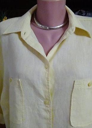 Желтая льняная рубашка