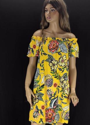 Стильное брендовое вискозное желтое в цветы платье papaya. размер uk8/eur36.