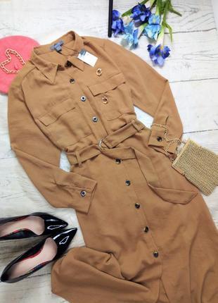 Трендова сукня сорочка мідаксі під поясок у стилі сафарі