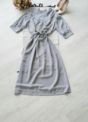 Платье в горошек платье миди винтаж с воротником сукня  міді вінтаж