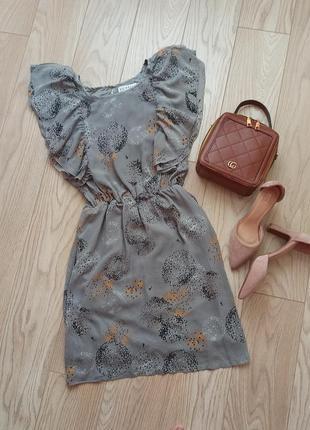 Крутое легкое серое платье с оборками, воланами, р.xs-s