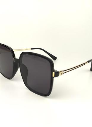 Солнцезащитные очки «amsterdam» с черной роговой оправой и темно-серой линзой