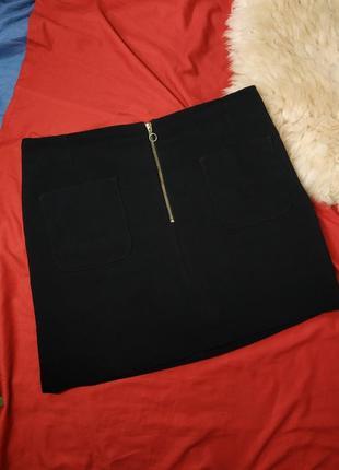 Стильная черная юбка с карманами 42р