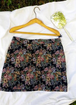 Гобеленовая юбка в розы цветы романтика