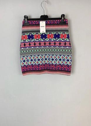 Разноцветная хлопковая летняя юбка с узорами pimkie