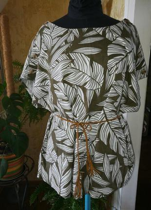 Блуза, лен, большой размер