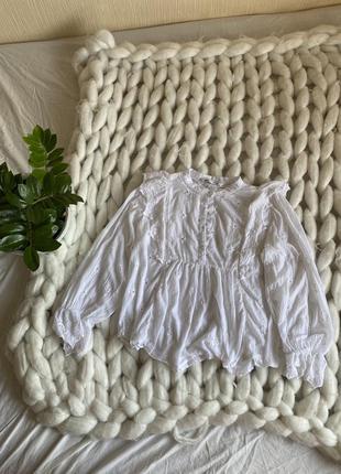 Хлопковая блуза рубашка коттон прошва кружево оверсайз свободная