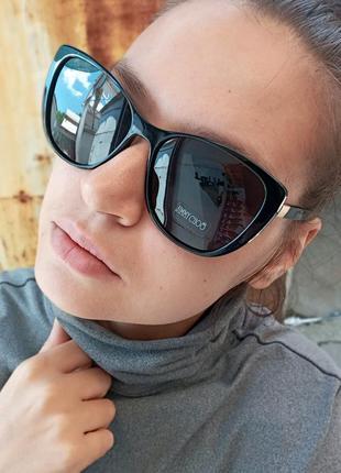Стильные чёрные очки кошки лисий глаз polarized италия