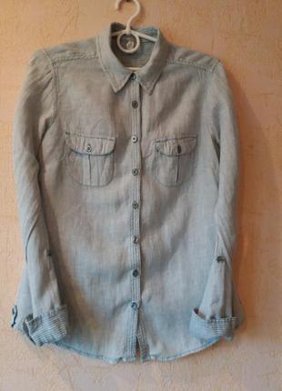 Льняная рубашка marks & spencer. 8 размер