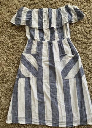 Хлопковое платье в полосуу с рюшей 36-38 р